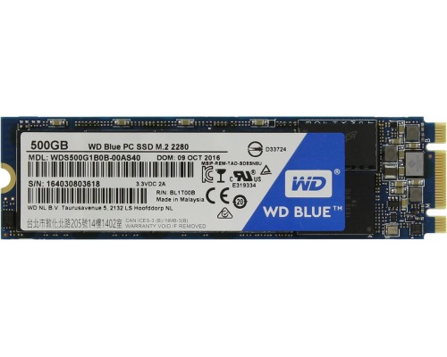 SSD накопитель WESTERN DIGITAL BLUE M.2 2280 500GB (WDS500G1B0B) TLC